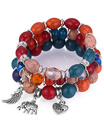 Vintage Multi-color Elephant&wing Decorated Multi-layer Bracelet