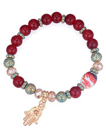 Fashion Red Palm Pendant Decorated Beads Bracelet