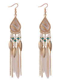 Fashion White Leaf Decorated Earrings