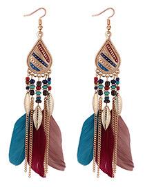 Fashion Multi-color Leaf Decorated Earrings