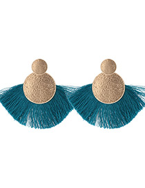 Vintage Blue Round Shape Decorated Tassel Earrings