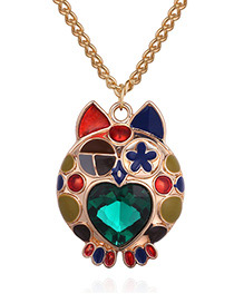 Fashion Green+gold Color Owl Shape Decorated Necklace