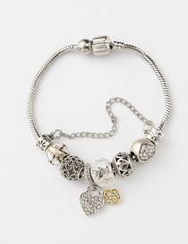 Fashion Silver Color+yellow Heart Shape Decorated Bracelet