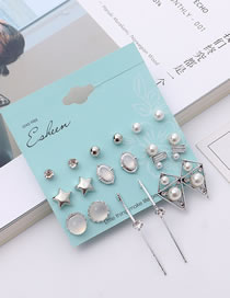 Fashion Silver Color Star Shape Decorated Earrings Sets (18 Pcs)