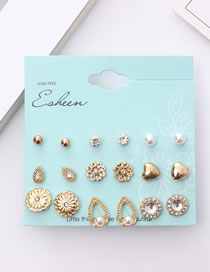 Simple Gold Color Flower Shape Decorated Earrings Sets (18 Pcs )
