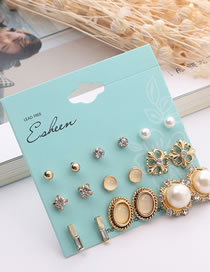 Fashion Gold Color Diamond&pearl Decorated Earrings Sets (18 Pcs )