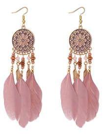 Fashion Pink Flower Pattern Decorated Earrings