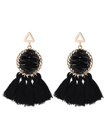 Elegant Black Round Shape Design Tassel Earrings