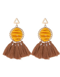 Elegant Yellow Round Shape Design Tassel Earrings
