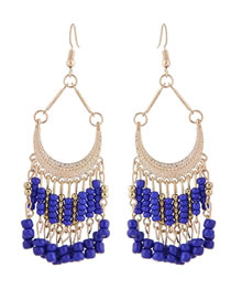 Fashion Sapphire Blue Bead Decorated Pure Color Earrings