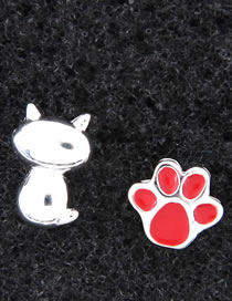 Fashion Red Cat Shape Decorated Earrings