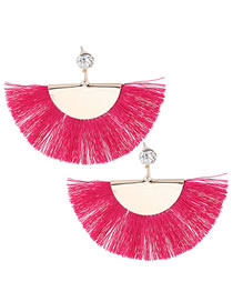 Fashion Plum Red Sector Shape Decorated Tassel Earrings