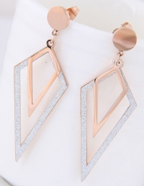 Fashion Rose Gold+silver Color Rhombus Shape Decorated Earrings