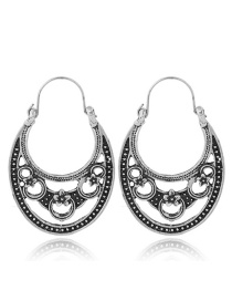 Fashion Silver Color Hollow Out Deisgn Flower Pattern Earrings