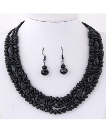 Simple Black Pure Color Decorated Jewelry Set