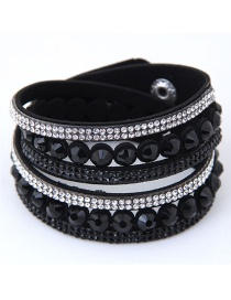 Fashion Black Diamond Decorated Pure Color Bracelet