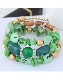 Fashion Green Bead Decorated Multi-layer Bracelet