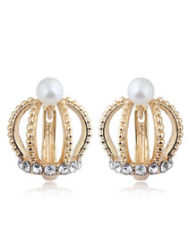 Elegant Gold Color Crown Shape Design Pure Color Earrings