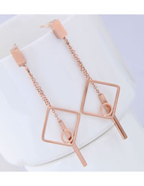 Elegant Rose Gold Square Shape Decorated Tassel Earrings