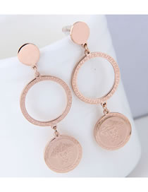 Elegant Rose Gold Coins Shape Design Long Earrings