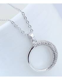 Elegant Silver Color Circular Ring Decorated Long Necklace