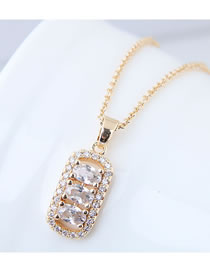 Elegant Gold Color Square Shape Pendant Decorated Necklace