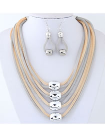 Elegant Multi-color Chains Decorated Multi-layer Jewelry Sets