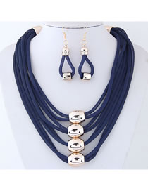 Elegant Navy Pure Color Design Multi-layer Jewelry Sets