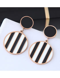 Fashion Black+white Stripe Pattern Shape Design Long Earrings