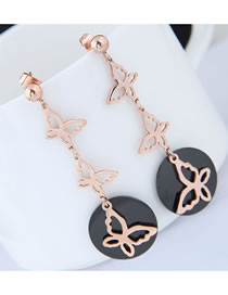 Fashion Rose Gold Butterfly Pendant Decorated Long Earrings