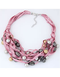 Fashion Pink Beads Decorated Multi-layer Necklacee