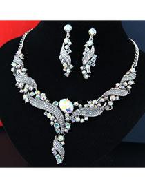 Fashion Multi-color Full Diamond Design Simple Jewelry Sets