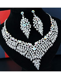 Fashion Multi-color Diamond Decorated Hollow Out Jewelry Sets
