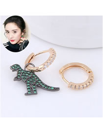 Fashion Green Dinosaur Shape Decorated Earrings