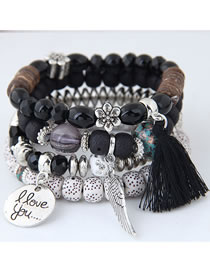 Fashion Black Multi-layer Design Tassel Bracelet