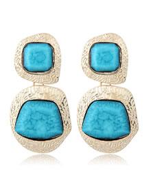 Fashion Blue Irregular Shape Decorated Earrings