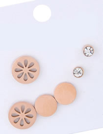 Elegant Rose Gold Hollow Out Flowers Decorated Earrings(6pcs)