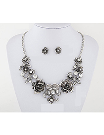 Elegant Silver Color Flowers Decorated Jewelry Sets