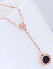Fashion Rose Gold+black Round Shape Decorated Necklace