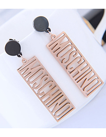 Fashion Rose Gold Hollow Out Design Letter Pattern Earrings