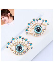 Simple Blue Eye Shape Decorated Earrings