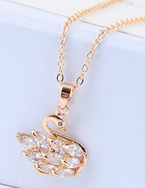 Sweet Gold Color Swan Pendant Decorated Necklace