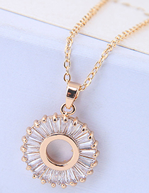 Sweet Gold Color Circular Ring Decorated Necklace