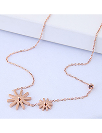 Sweet Gold Color Flowers Pendant Decorated Necklace