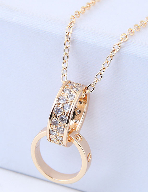 Elegant Gold Color Double Round Shape Decorated Necklace