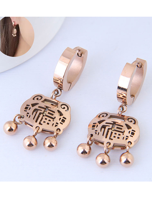 Elegant Rose Gold Longevity Lock Decorated Earrings
