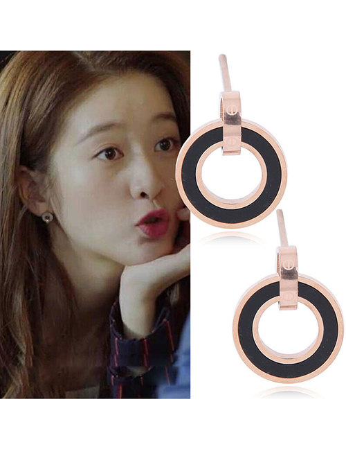 Elegant Rose Gold+black Hollow Out Round Shape Design Earrings