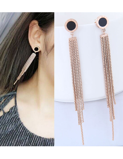 Elegant Rose Gold+black Tassel Decorated Long Earrings