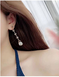 Fashion Gold Color Diamond Decorated Tassel Earrings
