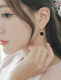 Fashion Black+rose Gold Square Shape Decorated Earrings